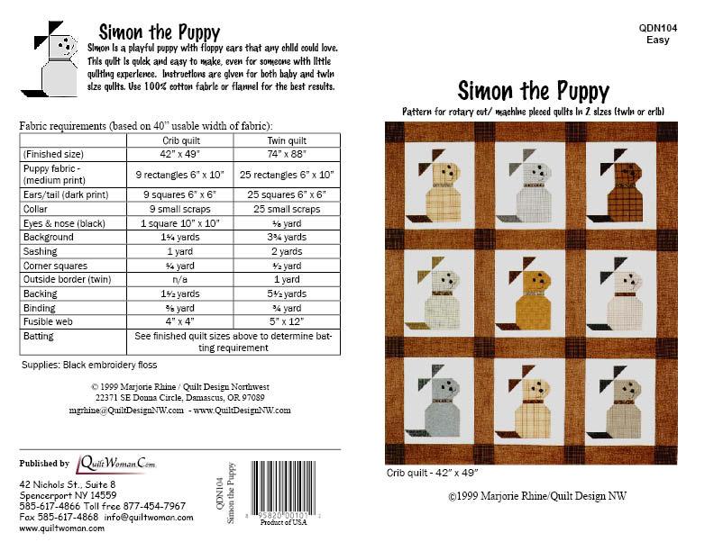 Qdnw Puppy Quilt Pattern