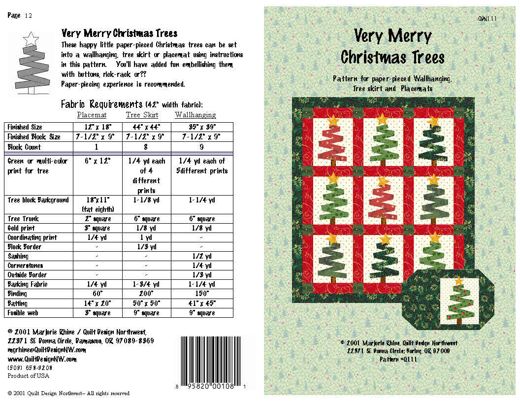 QDNW Very Merry Christmas Trees quilt pattern