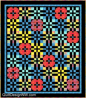 Dark background Prairie Lattice quilt by Quilt Design NW